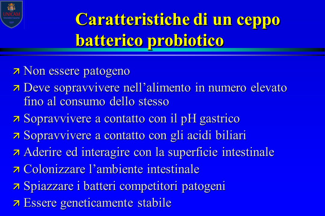 Caratteristiche di un ceppo batterico probiotico