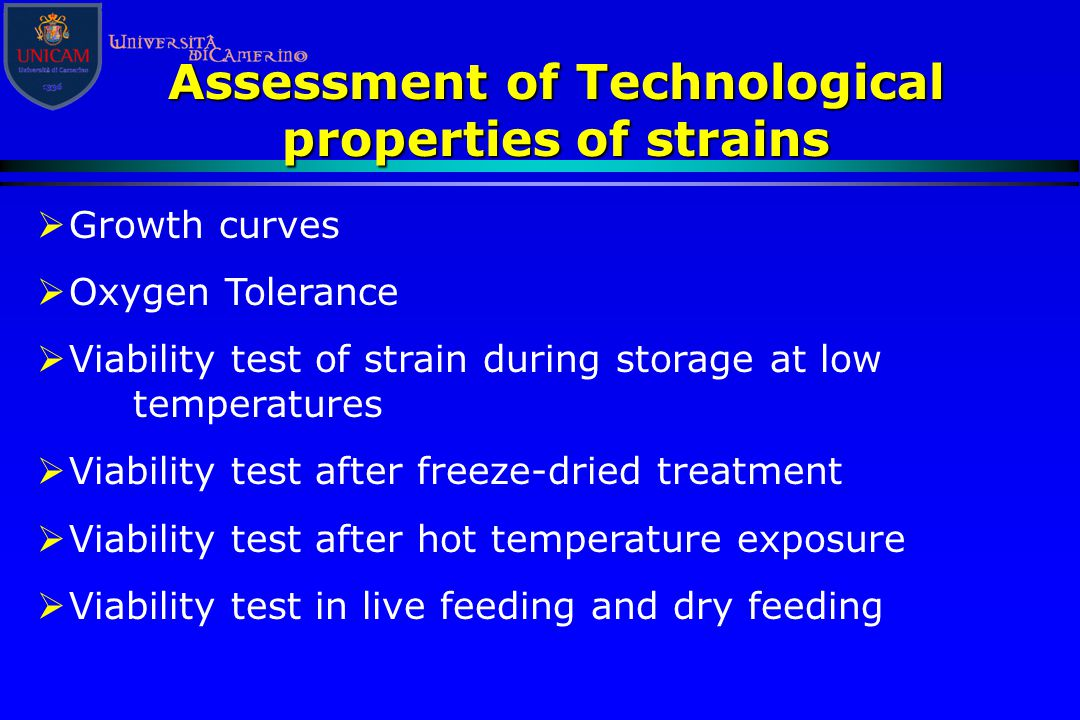 Assessment of Technological properties of strains