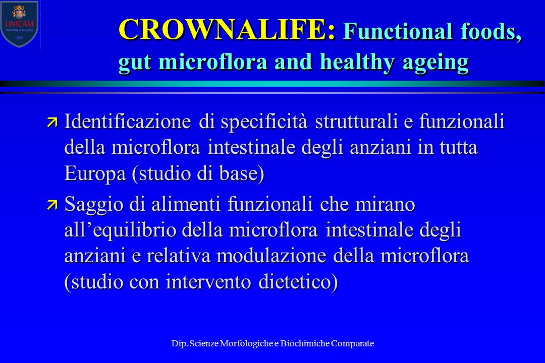 CROWNALIFE: Functional foods, gut microflora and healthy ageing