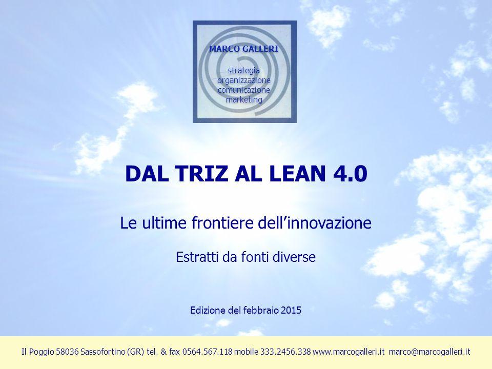 DAL TRIZ AL LEAN 4.0 Le ultime frontiere dell'innovazione
