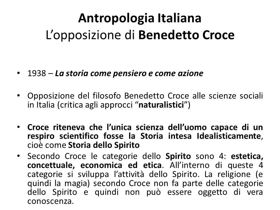 Antropologia Italiana L'opposizione di Benedetto Croce