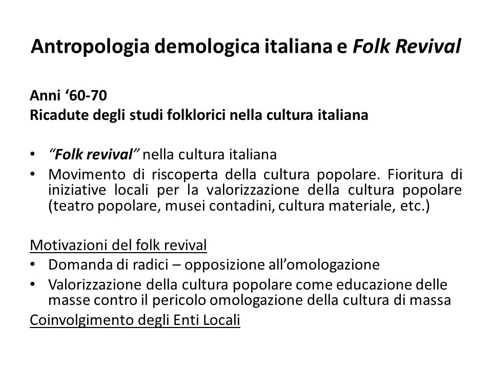 Antropologia demologica italiana e Folk Revival