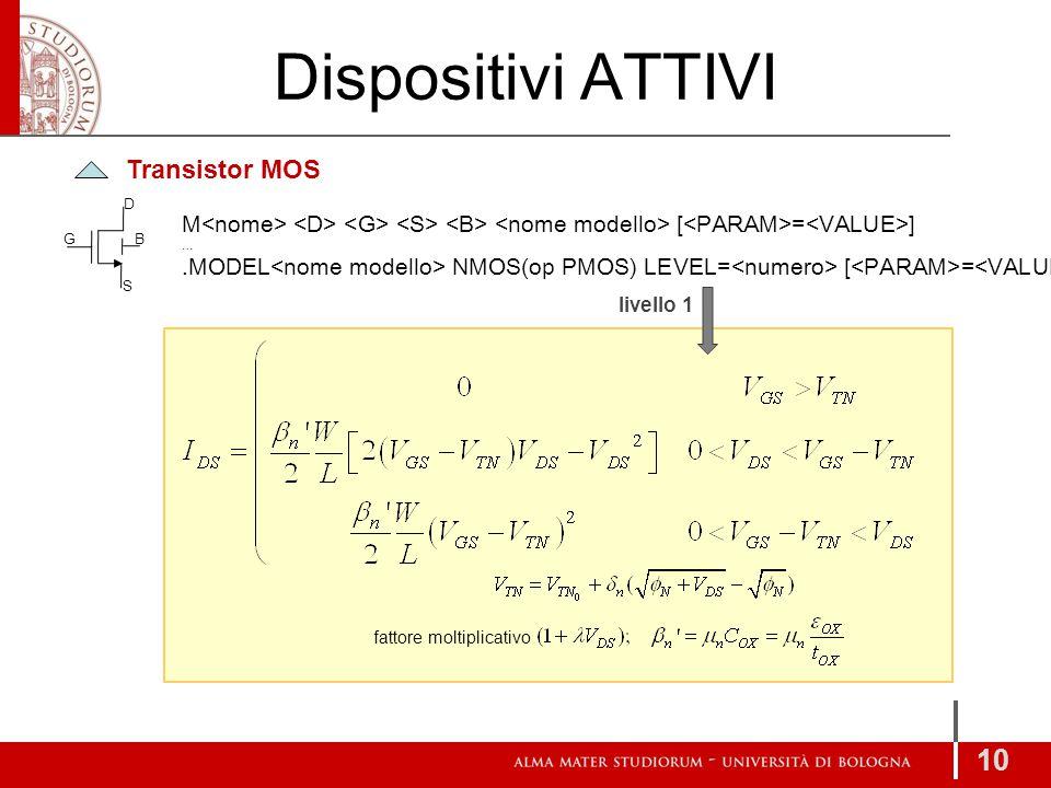 Dispositivi ATTIVI Transistor MOS