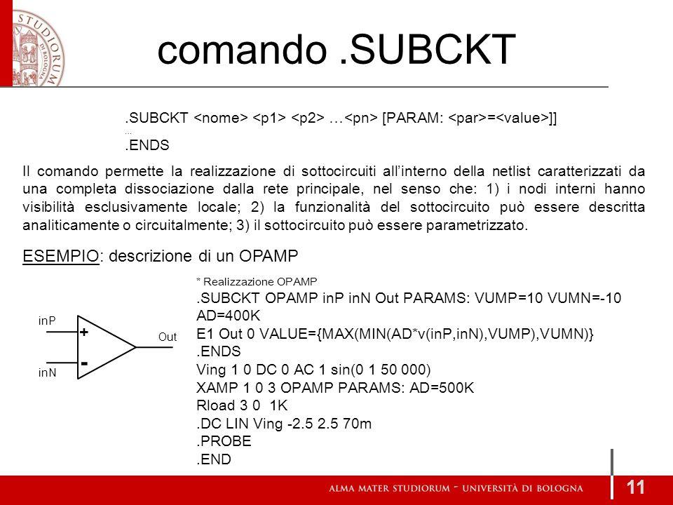 comando .SUBCKT - ESEMPIO: descrizione di un OPAMP +