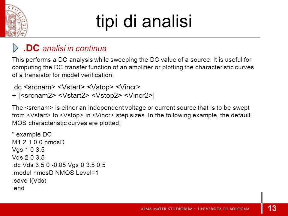 tipi di analisi .DC analisi in continua