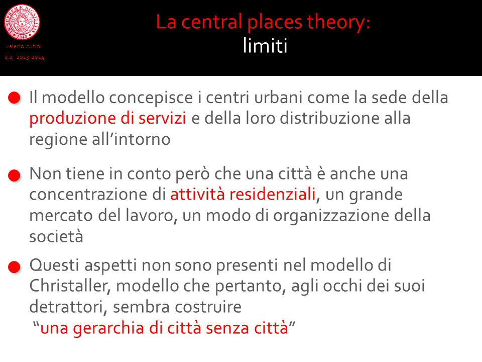 La central places theory:
