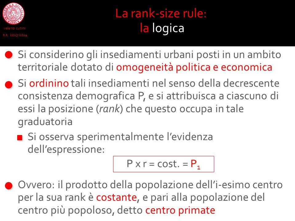 La rank-size rule: la logica