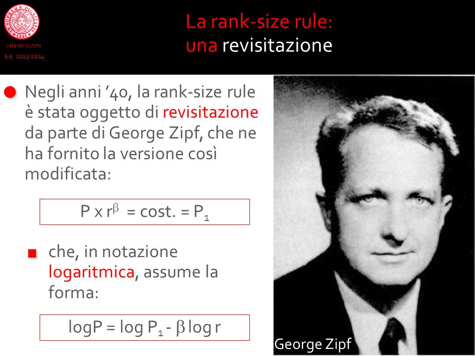 La rank-size rule: una revisitazione