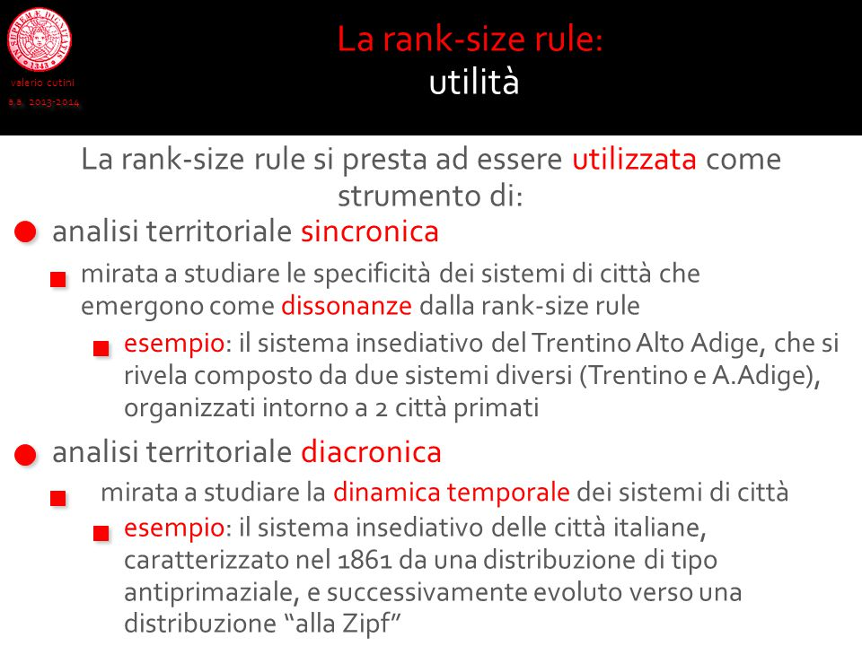 La rank-size rule: utilità
