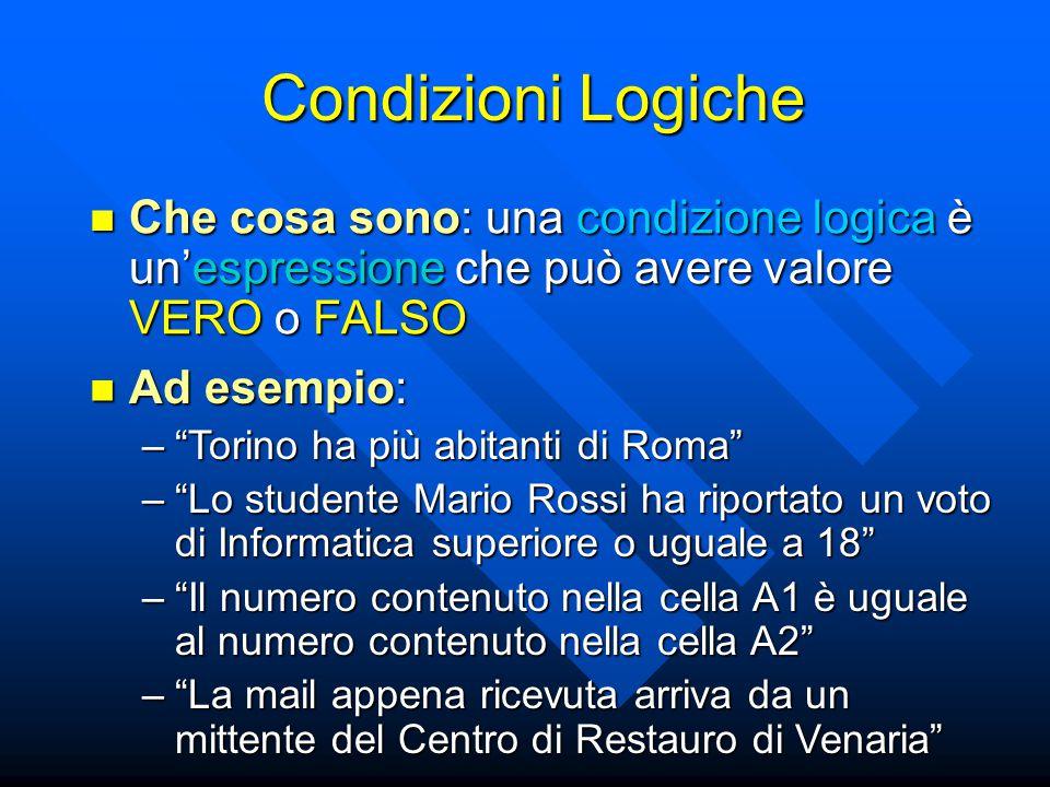 Condizioni Logiche Che cosa sono: una condizione logica è un'espressione che può avere valore VERO o FALSO.