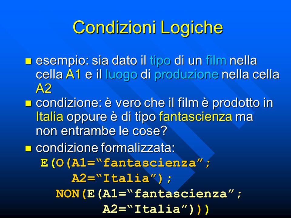 Condizioni Logiche esempio: sia dato il tipo di un film nella cella A1 e il luogo di produzione nella cella A2.
