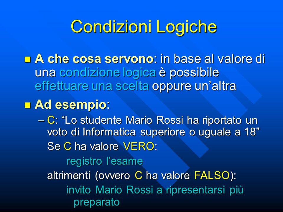 Condizioni Logiche A che cosa servono: in base al valore di una condizione logica è possibile effettuare una scelta oppure un'altra.