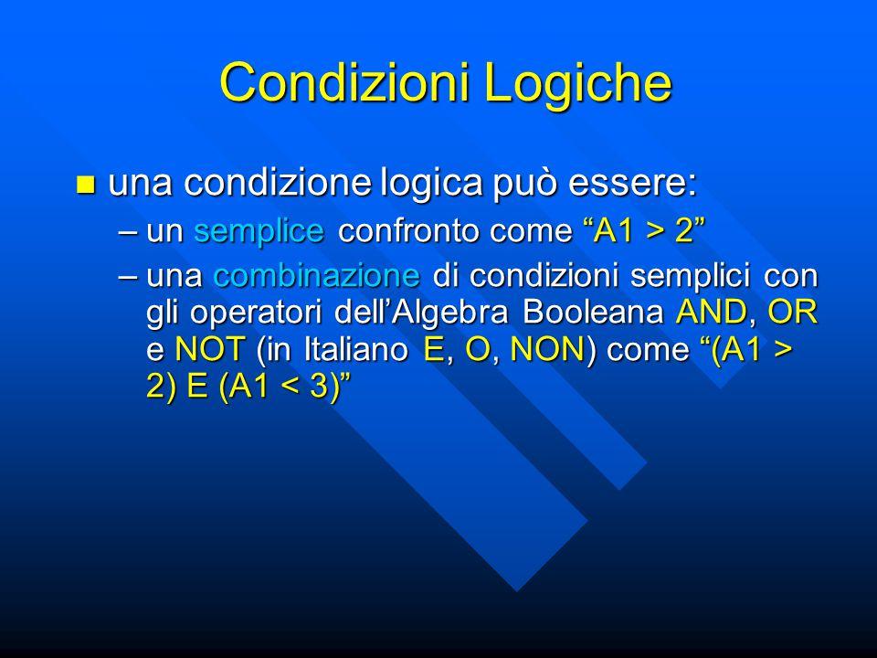 Condizioni Logiche una condizione logica può essere: