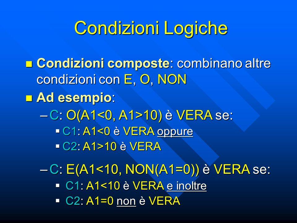 Condizioni Logiche Condizioni composte: combinano altre condizioni con E, O, NON. Ad esempio: C: O(A1<0, A1>10) è VERA se: