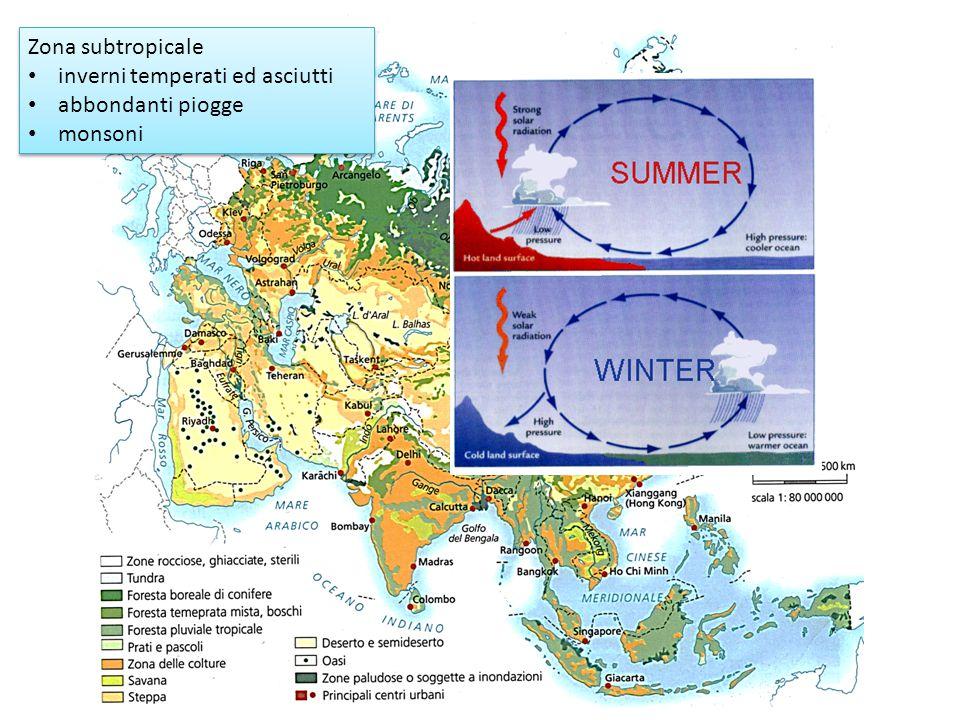 Zona subtropicale inverni temperati ed asciutti abbondanti piogge monsoni