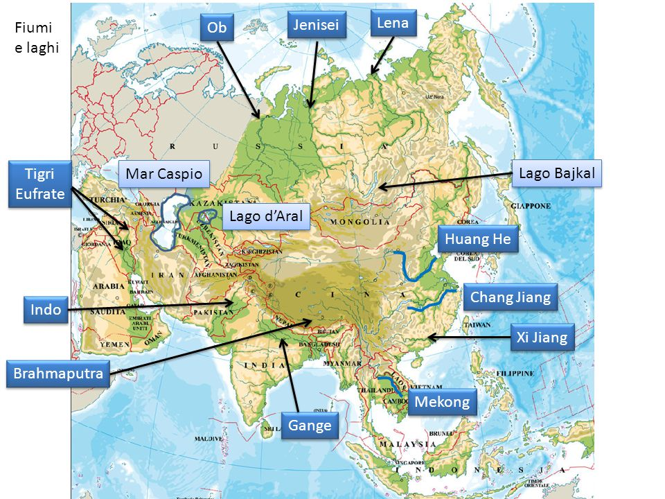 Lena Fiumi. e laghi. Ob. Jenisei. Tigri. Eufrate. Mar Caspio. Lago Bajkal. Lago d'Aral. Huang He.