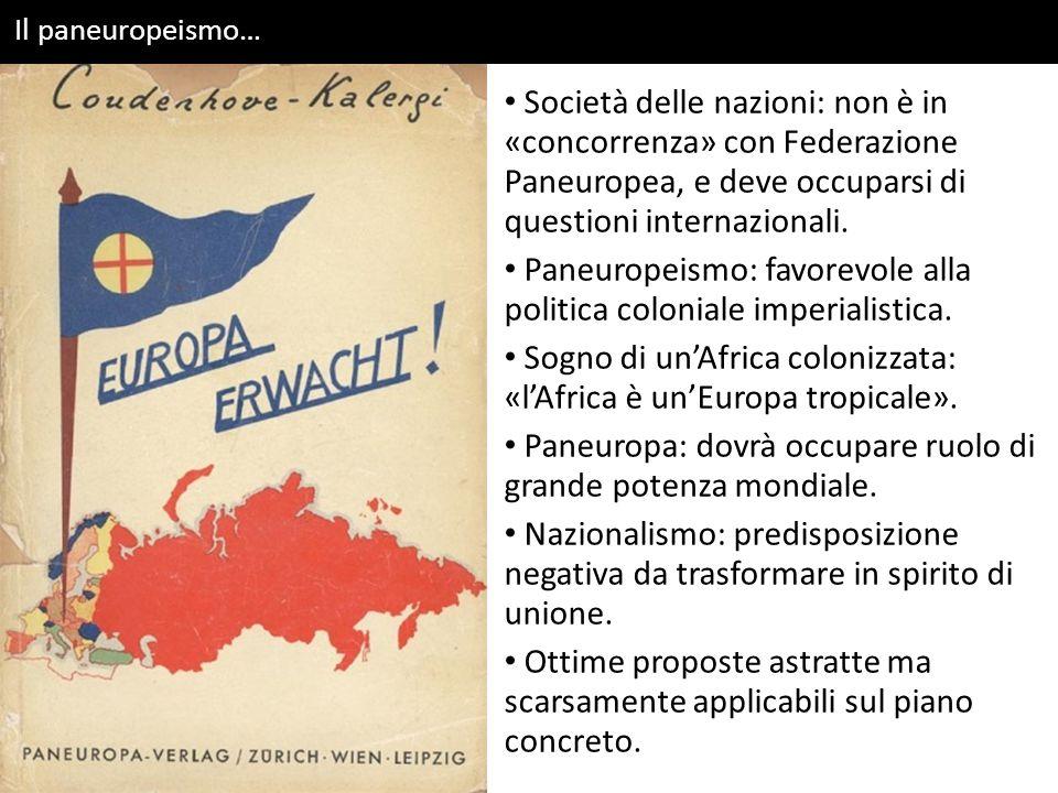 Paneuropeismo: favorevole alla politica coloniale imperialistica.