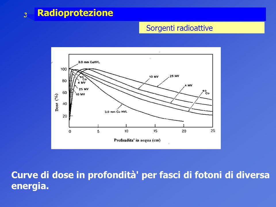 Curve di dose in profondità per fasci di fotoni di diversa energia.