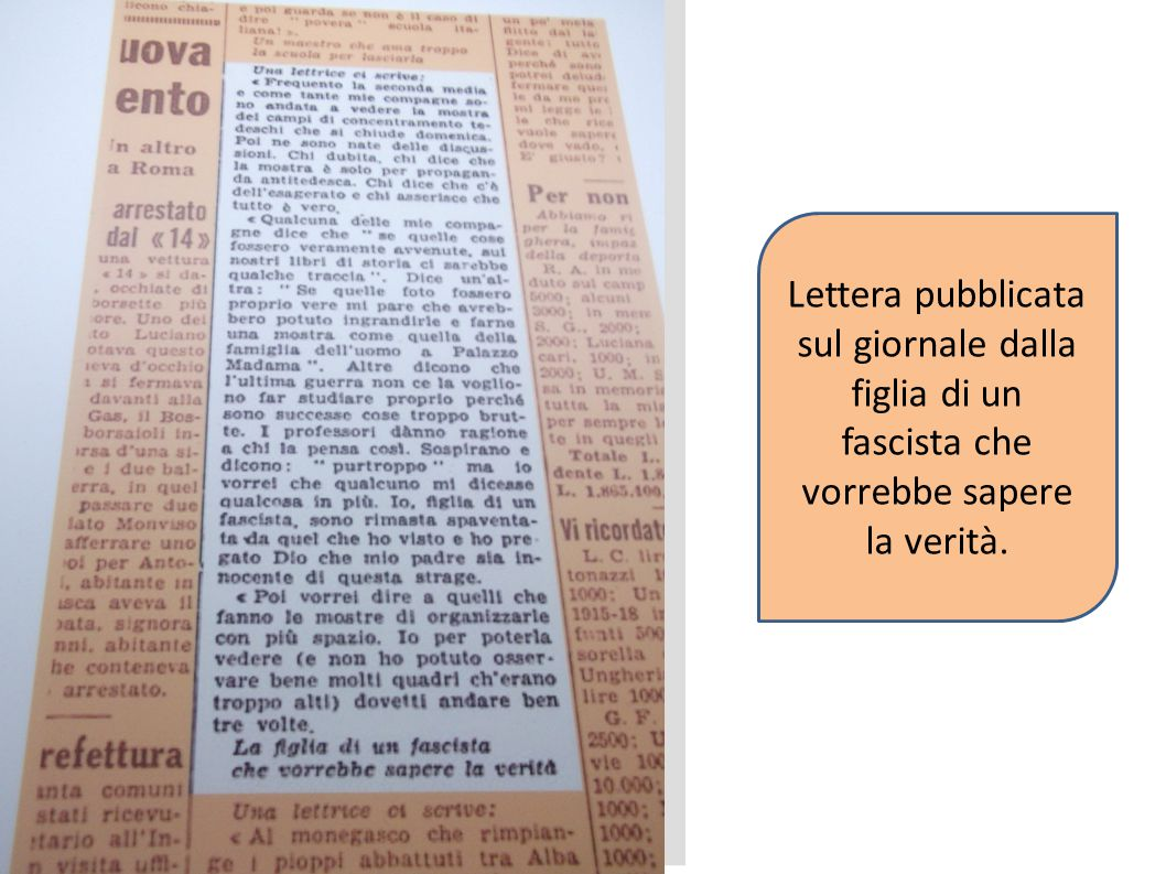 Lettera pubblicata sul giornale dalla figlia di un fascista che vorrebbe sapere la verità.