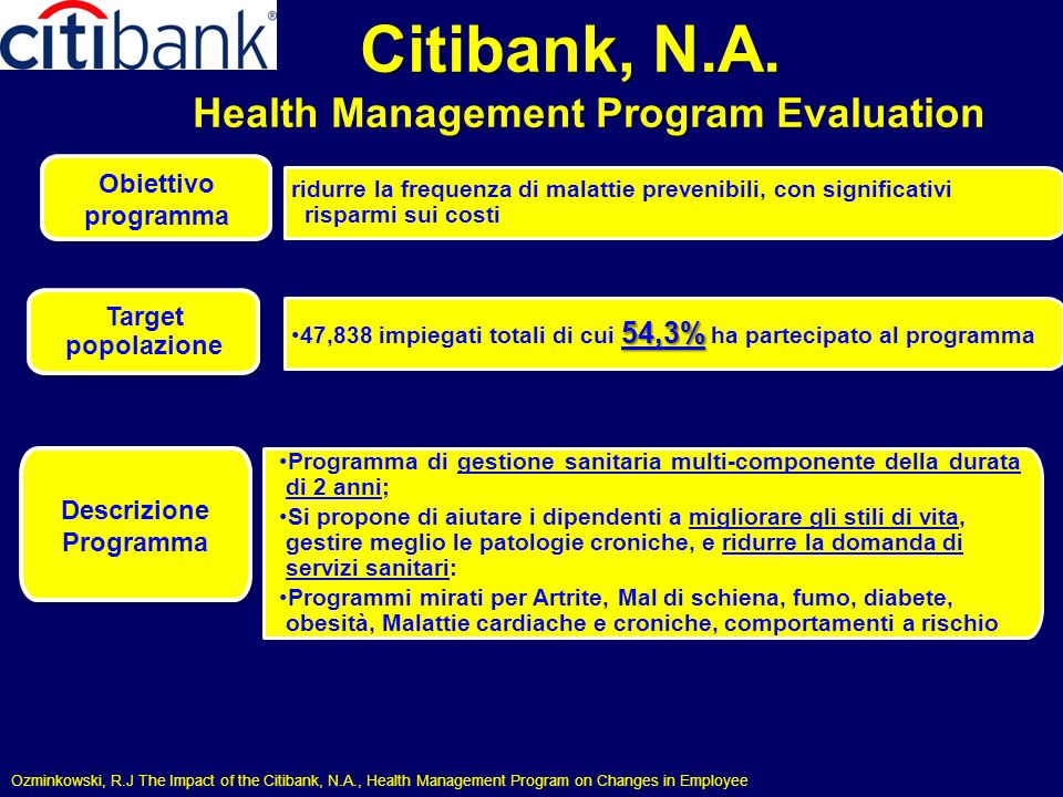 Citibank, N.A. Health Management Program Evaluation