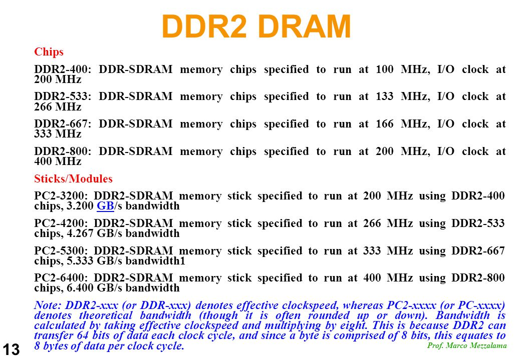 DDR2 DRAM Chips. DDR2-400: DDR-SDRAM memory chips specified to run at 100 MHz, I/O clock at 200 MHz.
