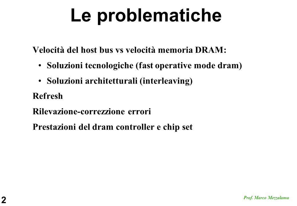 Le problematiche Velocità del host bus vs velocità memoria DRAM: