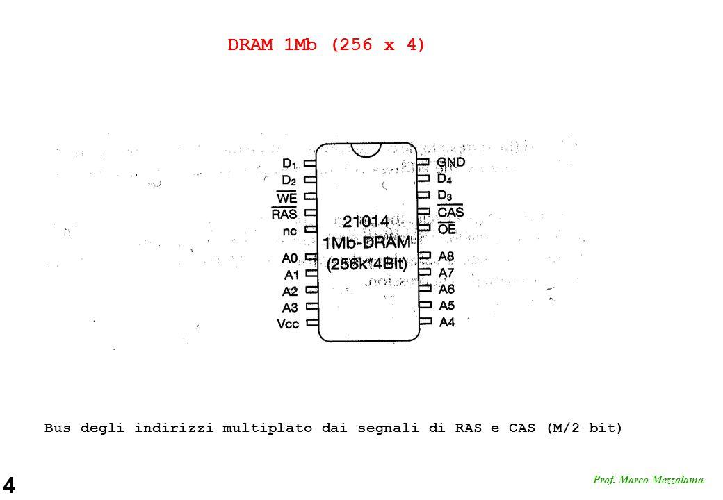 DRAM 1Mb (256 x 4) Bus degli indirizzi multiplato dai segnali di RAS e CAS (M/2 bit)