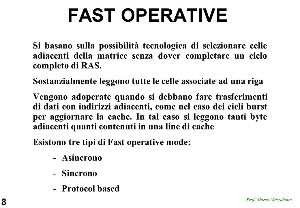 FAST OPERATIVE Si basano sulla possibilità tecnologica di selezionare celle adiacenti della matrice senza dover completare un ciclo completo di RAS.