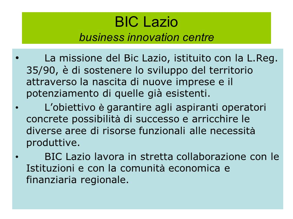 BIC Lazio business innovation centre