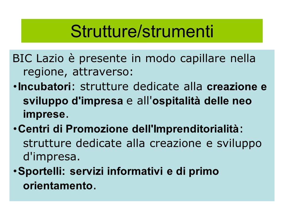Strutture/strumenti BIC Lazio è presente in modo capillare nella regione, attraverso: