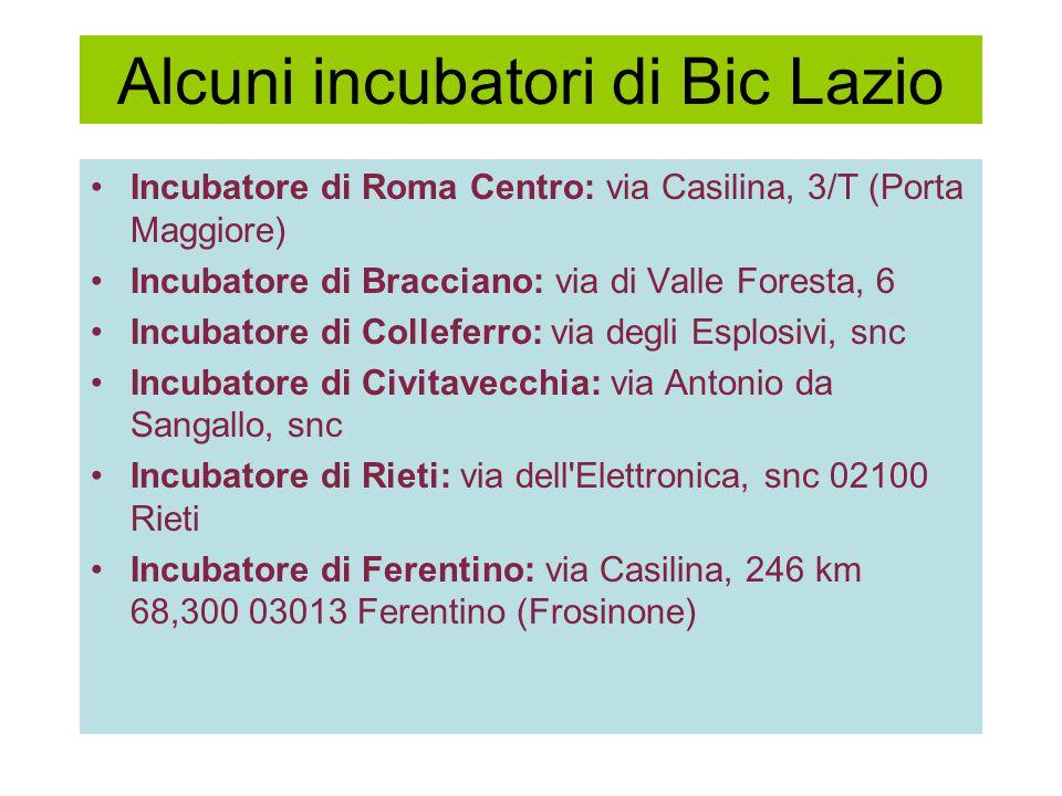Alcuni incubatori di Bic Lazio