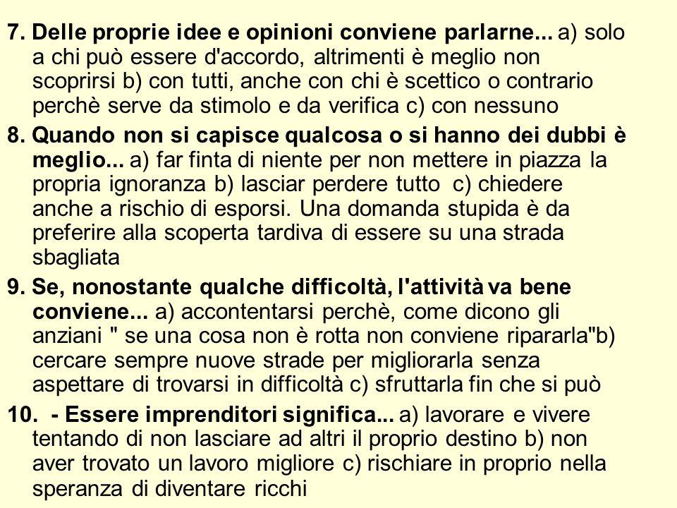 7. Delle proprie idee e opinioni conviene parlarne