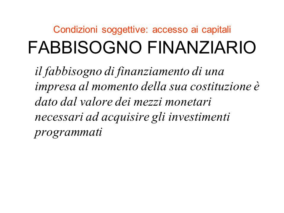 Condizioni soggettive: accesso ai capitali FABBISOGNO FINANZIARIO