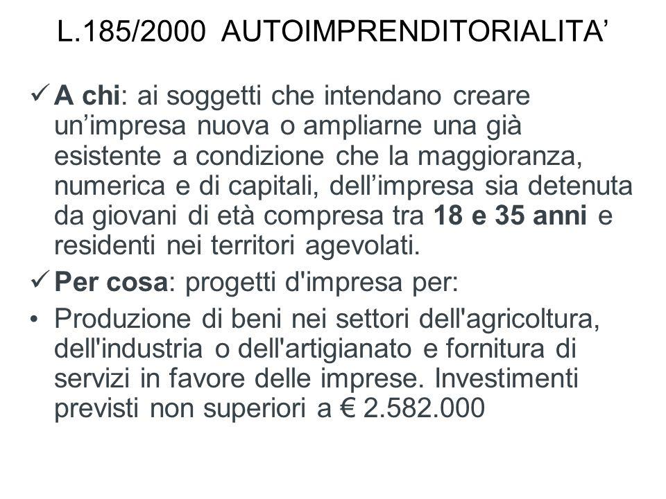 L.185/2000 AUTOIMPRENDITORIALITA'