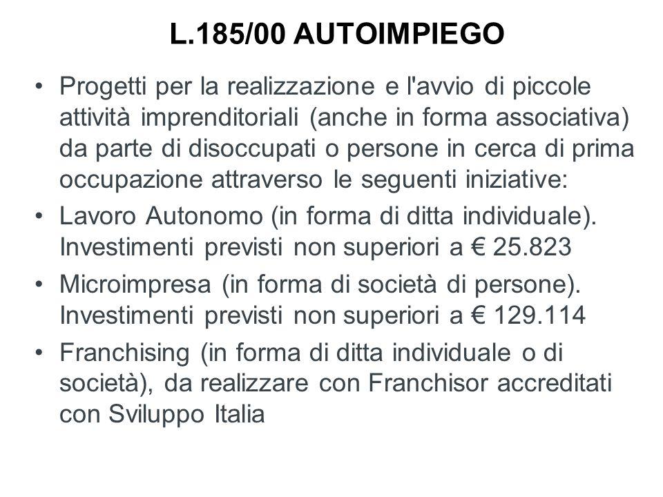 L.185/00 AUTOIMPIEGO