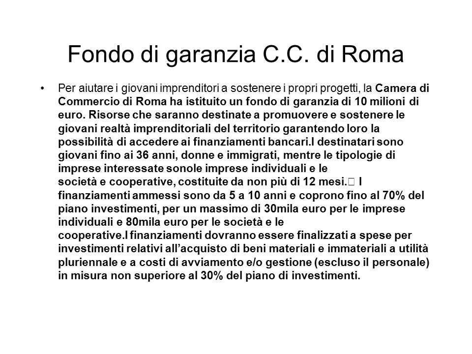 Fondo di garanzia C.C. di Roma