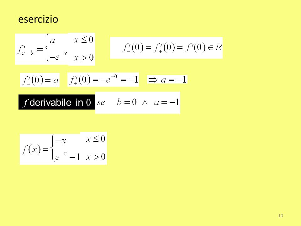 esercizio f derivabile in 0