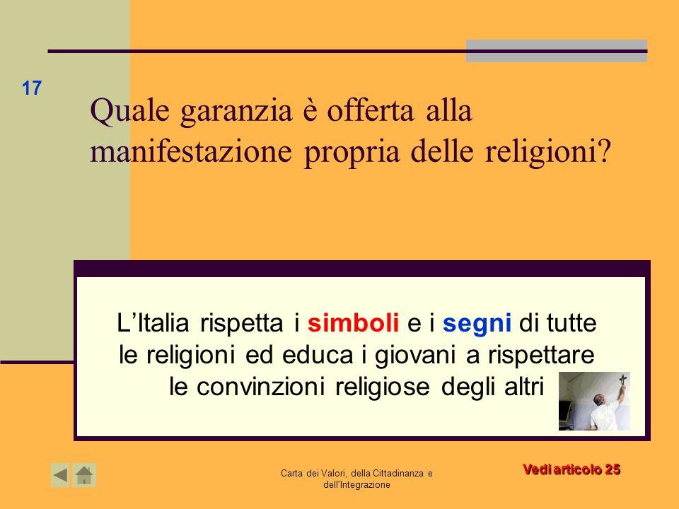 Quale garanzia è offerta alla manifestazione propria delle religioni