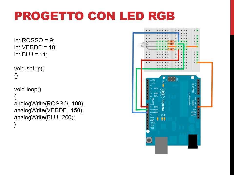 Progetto con led rgb int ROSSO = 9; int VERDE = 10; int BLU = 11;