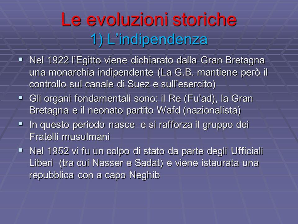 Le evoluzioni storiche 1) L'indipendenza