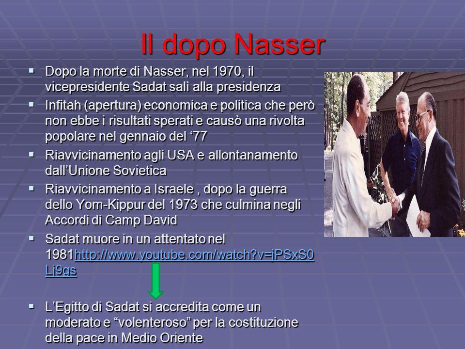 Il dopo Nasser Dopo la morte di Nasser, nel 1970, il vicepresidente Sadat salì alla presidenza.