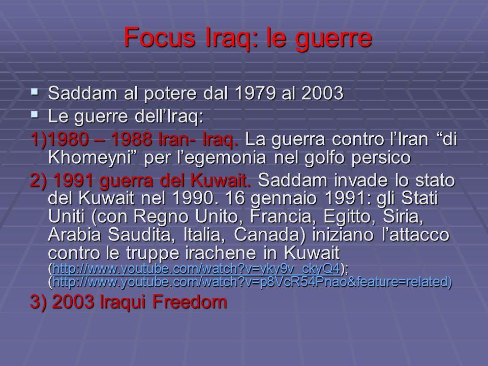 Focus Iraq: le guerre Saddam al potere dal 1979 al 2003