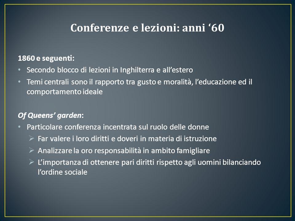 Conferenze e lezioni: anni '60