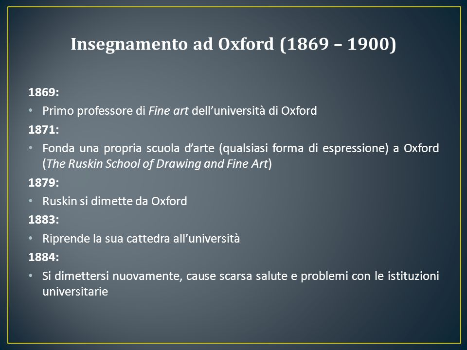 Insegnamento ad Oxford (1869 – 1900)