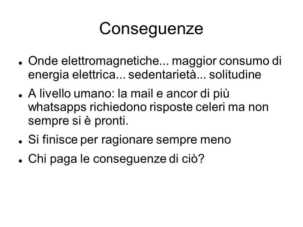 Conseguenze Onde elettromagnetiche... maggior consumo di energia elettrica... sedentarietà... solitudine.