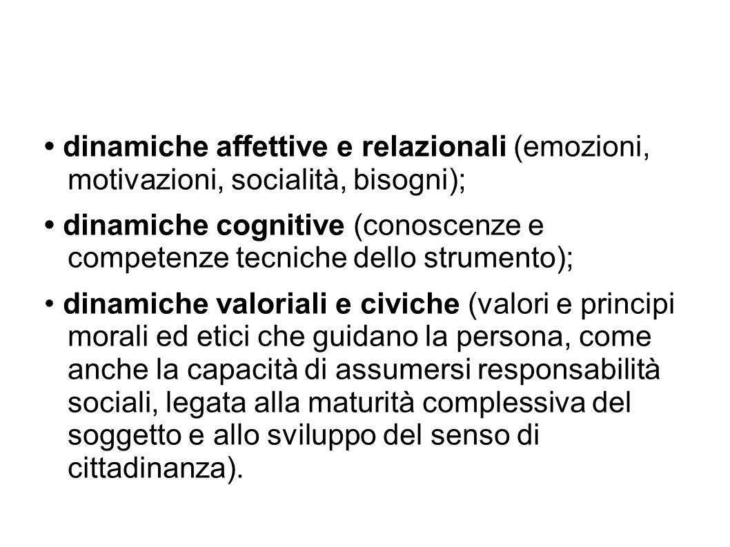 • dinamiche affettive e relazionali (emozioni, motivazioni, socialità, bisogni);