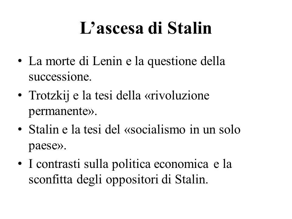 L'ascesa di Stalin La morte di Lenin e la questione della successione.