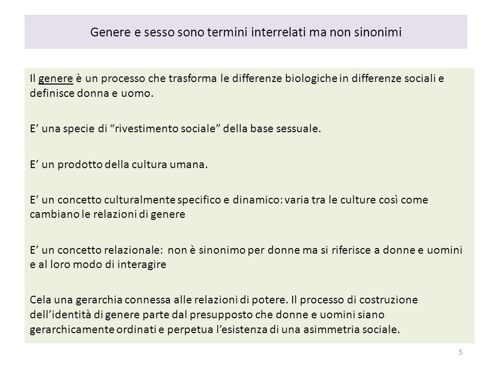 Genere e sesso sono termini interrelati ma non sinonimi