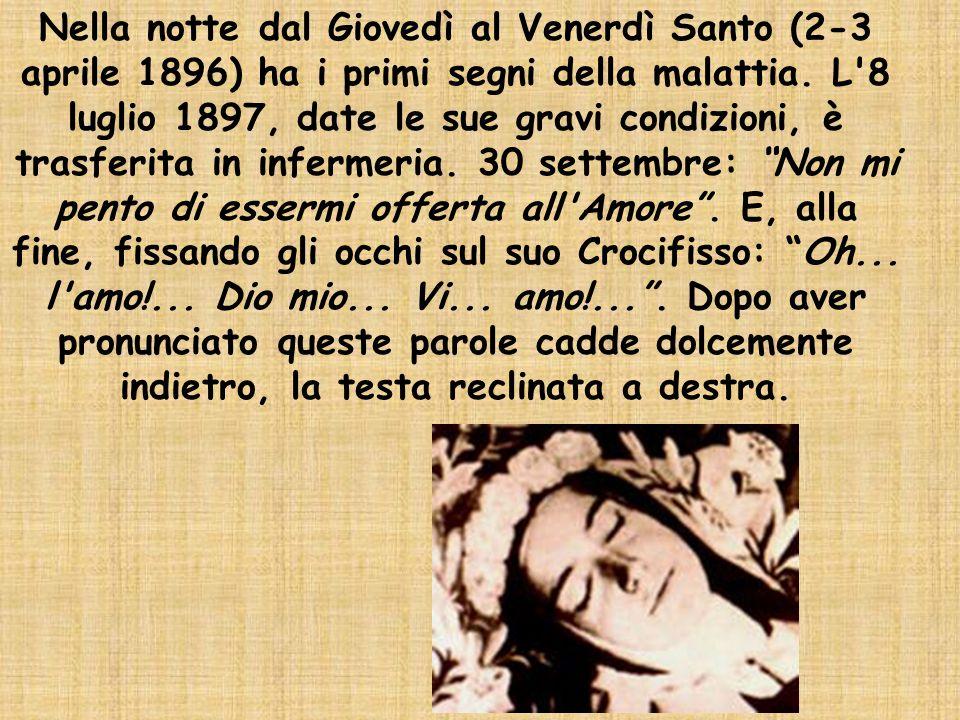 Nella notte dal Giovedì al Venerdì Santo (2-3 aprile 1896) ha i primi segni della malattia.