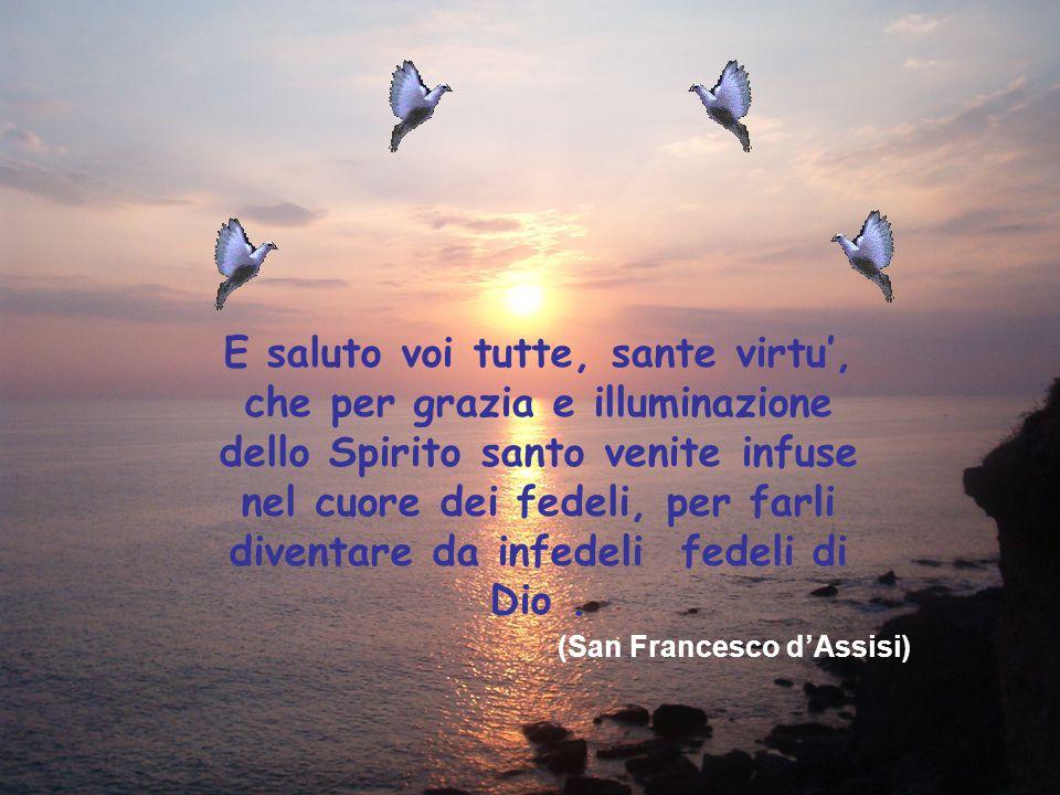 E saluto voi tutte, sante virtu', che per grazia e illuminazione dello Spirito santo venite infuse nel cuore dei fedeli, per farli diventare da infedeli fedeli di Dio .